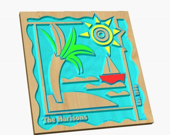 Colorful, Beachy, and Fun Personalized Beach House Sign  or Island House Sign