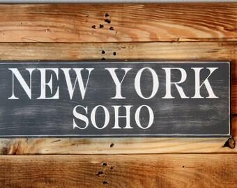 "New York SOHO - Handmade Grey & White Wooden Distressed Sign (22.5"" X 7.5"") Keyhole Hanger"