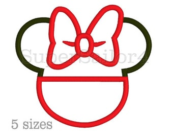 Mouse girl applique design, Girl applique design, Minnie Mouse applique design, Minnie applique