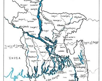 Bangladesh - Semi-COLOR Hand Drawn Map