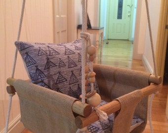 Handmade Burlap Baby Swing or Toddler Swing and Rattle