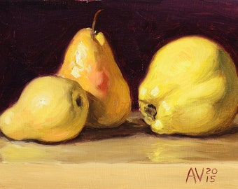 A Family O'Pears, Quince Pear and Bartlet Pears Painting by Aleksey Vaynshteyn
