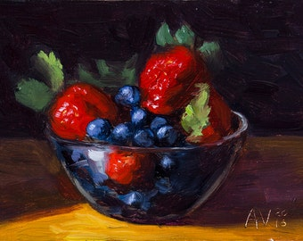 Berries in a Glass Bowl Kitchen Painting Still Life by Aleksey Vaynshteyn