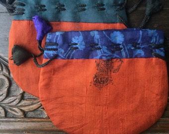 """Drawstring Bag Sari Silk 4 1/2"""" Jewelry Gift Packaging Set of Two"""