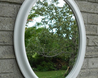 White frame oval wall mirror. (vanity mirror, bathroom mirror, shabby chic mirror, nursery mirror,