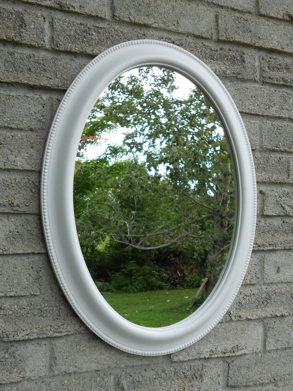 White Frame Oval Wall Mirror Vanity Mirror Bathroom Mirror