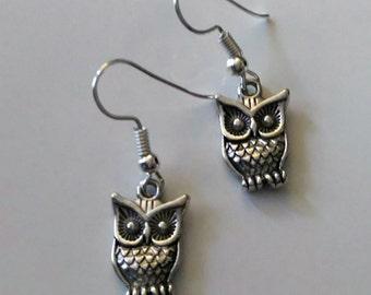 Owl earrings, Tibetan silver