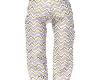 "Purple White & Gold Chevron Cotton Pajama Bottoms - Doll Clothes fits 18"" American Girl Dolls"