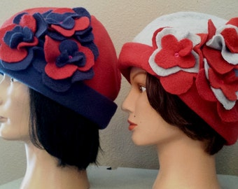 Design your Own Hat - Blue - Burgundy or Grey - Burgundy with coordinated color flowers