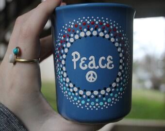 Hand Painted Peace Mug