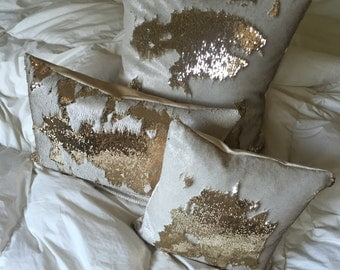 Champagne & Gold mermaid scale pillow