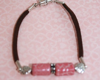 Pink and hearts brown leather bracelet
