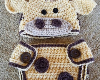 Newborn Giraffe Hat & Diaper Cover set -Photo Prop Crocheted Baby