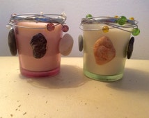 Coastal Votive Candles in Glass Holder Pair of Beach Nautical Votive Candles  Made with Cape Cod Beach Stones 100% Soy Large Votives