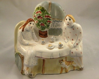 "Ceramic sculpture, made in the technique of majolica ""Tea party""."