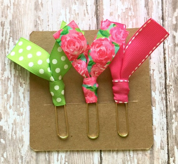 Lilly Pulitzer First Impression, Green Dot and Pink Ribbon Paper Clips - Set of Three - Great for Planners, Notebooks, Bookmarks & More!