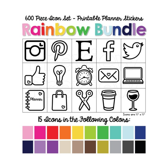 "600 Piece Printable Icon Set - Rainbow Bundle:  15 Icons x 20 Colors in Solid and Outline.  Icons are sized 1/2"" x 1/2"" to fit ALL Planners!"