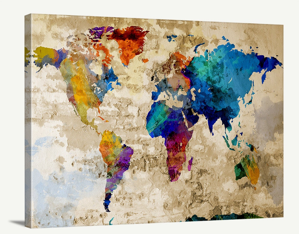 Map Art Watercolor World Map Canvas Print By Extralargewallart