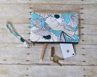 Wristlet, small purse, small bag, blue floral wristlet, phone pouch, teacher gift, bridesmaid gift, gift for her, zipper pouch