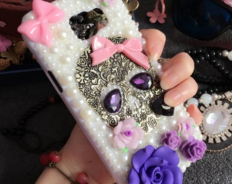 New Bling Pink Bow Purple Floral Punk Metal Skull Sparkles Gems Pearls Rhinestones Diamonds Lovely Flowers Hard Cover Case for Mobile Phones