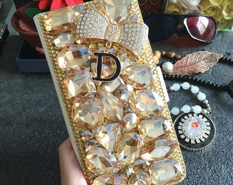 Luxury Champagne Crystals Slot Cards Holder Wallet Leather Gold D Bow Lovely Bling Rhinestones Diamonds Gem Hard Cover Case for Mobile Phone