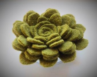 Moss green felted wool flower brooch pin