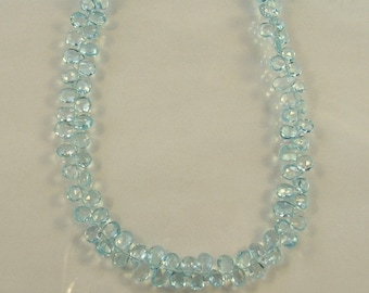 "Sky blue TOPAZ faceted pear briolette beads AAA 6-7mm 8"" strand"