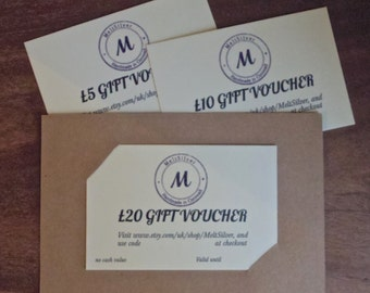 10GBP Gift Voucher, silver jewellery, necklaces, gifts, christmas presents
