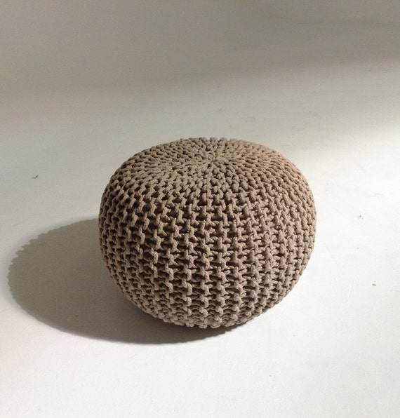 handmade knitted pouf shadow gray taupe 50x35cm hand by gfurn. Black Bedroom Furniture Sets. Home Design Ideas
