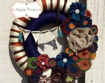 Fall Wreath - Yarn Wreath - Wrapped Wreath - Front Door Wreath - Home Decor - Thanksgiving Wreath - Double Wreath