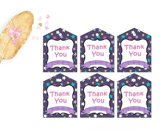Printable Bag Tags, Camping Birthday Favor Tags, DIY Party Decorations, Thank you tags, Goody Bag Tag, INSTANT DOWNLOAD