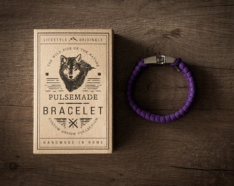 Men's bracelet-women's violet acid unisex in Paracord 550-Pulsemade Style Collection-Handmade paracord mens bracelet-Womens Acid Purple
