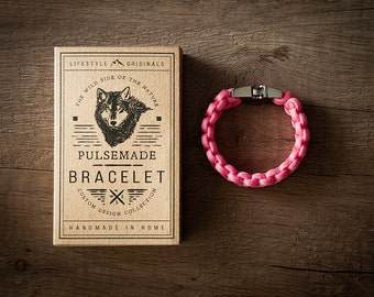 Men's bracelet-pink unisex woman in Paracord 550-Pulsemade Classic Collection-Handmade paracord mens bracelet-Womens rose Pink