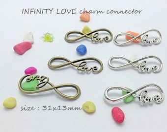 20pcs Infinity Love Charm Connectors-Big Infinity Charms-Infinity Link-Infinity Link-Infinity Connector-Infinity Bracelets 39x12mm-0444