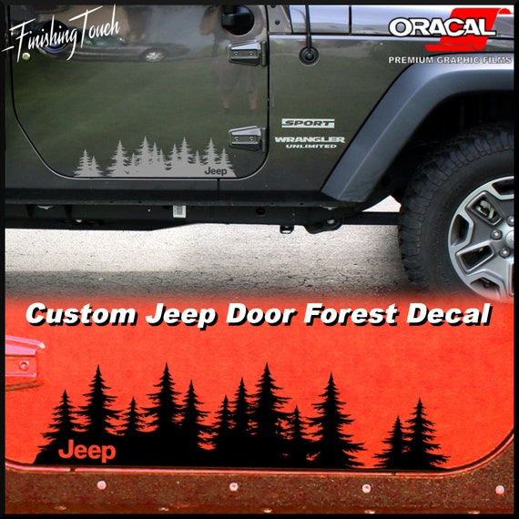 Jeep decal custom tree forest vinyl graphic door set a unique for Custom jeep lettering