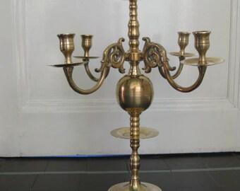 Beautiful  brass 4-armed candlestick, candleholder, candelabras