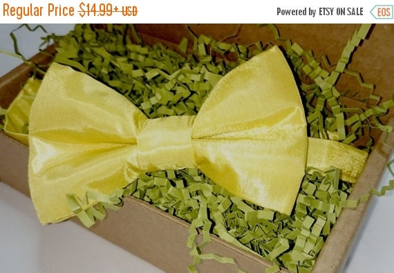 Sale  CLEARANCE     Children's Yellow Taffeta Pretied Bowtie (1-only)