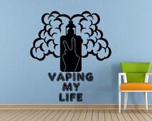 Vaping My Life E Cigarette Vape Shop Bar Store Vapor Cloud Window Wall Decal Vinyl Sticker Mural Room Decor L1724