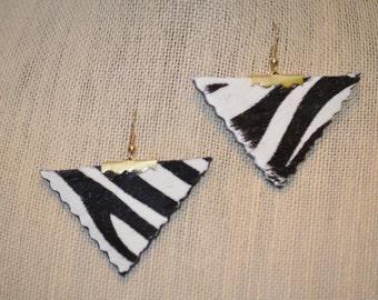leather Zebra print Earrings