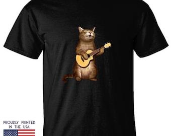 Cat Tee Shirt, Pink Cat T Shirt, Cat Lover's Gift Idea, Screenprinted Tee Shirt, Cat With Ukulele