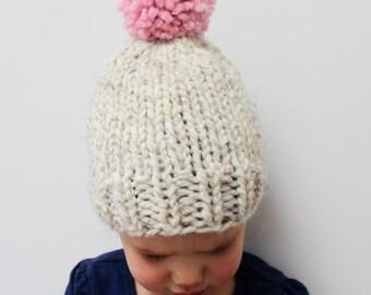 Toddler Girl Knit Hat With Pom Pom