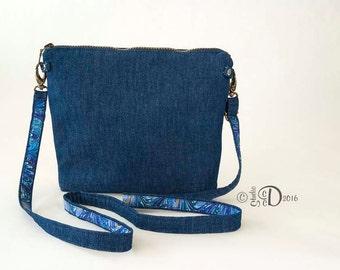 Crossbody Bag, Day Bag, Travel Bag, Denim Day Bag, Denim Handbag