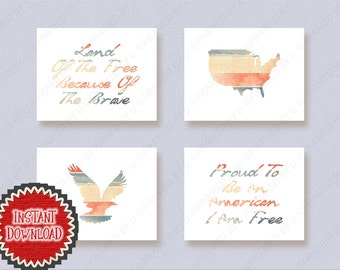Set of 4 Patriotic Printables United States of America American Eagle USA Freedom Brave Americana Red, White, Blue, Wall Art Wall Decor