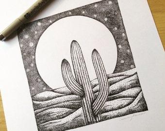 Cactus Moon dotwork Print A4 Original Artwork Illustration