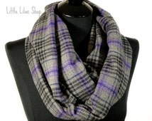 Plaid Infinity Scarf, Plaid Scarf, Black and Gray Scarf, Infinity Scarf, Flannel Scarf, Woman's Scarf, Soft and Cozy, Gray and Purple