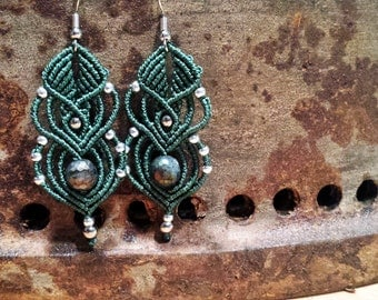 Micro macrame earrings with labradorite gemstone MADE BY ORDER choose your colour :)