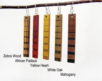 Wood Earring - Dangle Wooden Earring Pair - Zebra Wood, African Padauk, Yellow Heart, White Oak, Mahogany - Long Hanging Earring