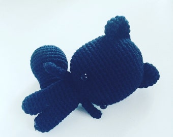 "Stffed toy, amigurumi black ""lucky"" cat - handmade"