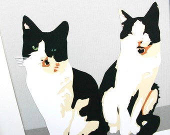 Cat Portrait Papercut A5 - 2 Pets - Custom Pet Portrait - Personalized Gifts for Cat Lovers - Cat Drawing - Personalised Cat Illustration