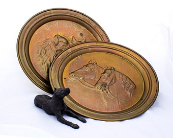 Dogs or Horses Repoussé Metalwork Wall Decoration or Tray, Brass Coated Copper